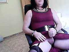 Crossdresser, Dress, Cumshot